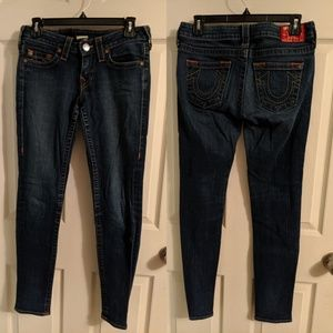 True Religion medium wash skinny jeans